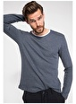 DeFacto Slim Fit Sweatshirt Mavi